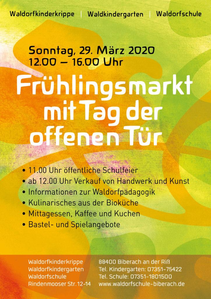 Veranstaltungseinladung Frühlingsmarkt der Freien Waldorfschule Biberach und der Waldorfkindergärten 2020