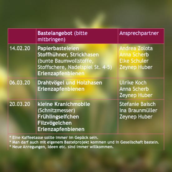 Basteltermine Frühlingsmarkt Waldorfschule Biberach 2020